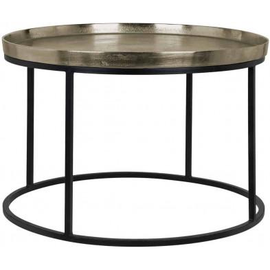 Table basse  argenté industriel en acierL. 70 x P. 70 x H. 45 cm collection Milo Richmond Interiors