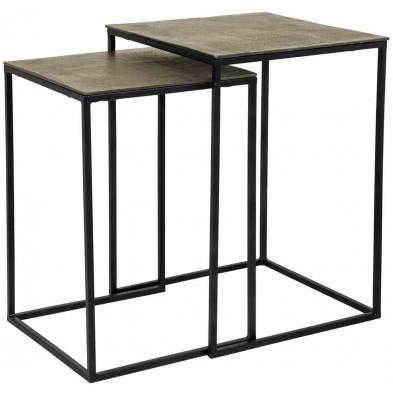 Table d'appoint noir industriel en acier L. 40 x P. 40-51 x H. 56 cm collection Finn Richmond Interiors