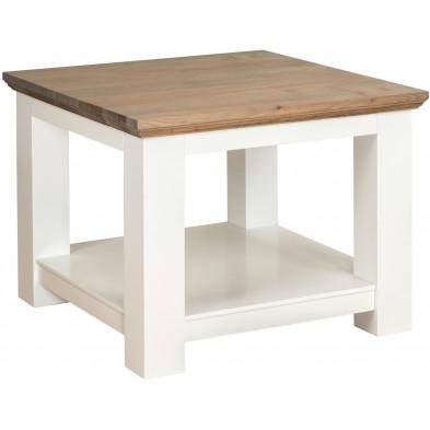 Table d'appoint blanc contemporain en bois massif chêne et pin  L. 60 x P. 60 x H. 45 cm collection Cardiff Richmond Interiors