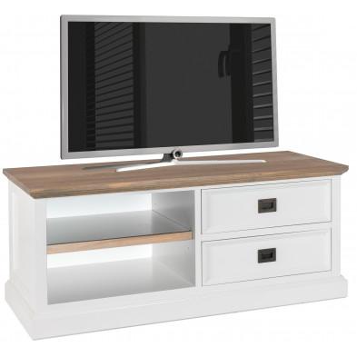 Meuble tv blanc contemporain en bois massif chêne  et pin L. 120 x P. 45 x H. 50 cm collection Cardiff Richmond Interiors