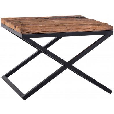 Table d'appoint marron industriel en acier et bois massif  L. 60 x P. 60 x H. 45 cm  collection Kensington-brillant Richmond Interiors
