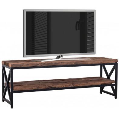 Meuble tv marron contemporain en acier et bois massif L. 140 x P. 40 x H. 50 cm de largeur collection Kensington-brillant Richmond Interiors