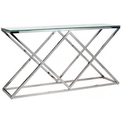 Console argenté design en acier inoxydable et verre L. 150 x P. 40 x H. 80 cm  collection Paramount Richmond Interiors