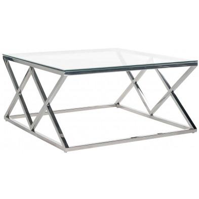 Table basse  argenté design en acier inoxydable et verre: L. 100 x P. 100 x H. 40 cm collection Paramount Richmond Interiors
