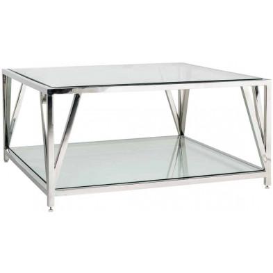 Table basse argenté design en acier inoxydable et verre  L. 100 x P. 100 x H. 45 cm  collection Paramount Richmond Interiors