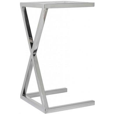 Table d'appoint argenté design en acier inoxydable  L. 35 x P. 35 x H. 65 cm collection Paramount Richmond Interiors
