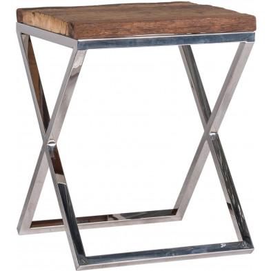 Table d'appoint argenté industriel en acier inoxydable L. 45 x P. 45 x H. 58 cm  collection Kensington-brillant Richmond Interiors