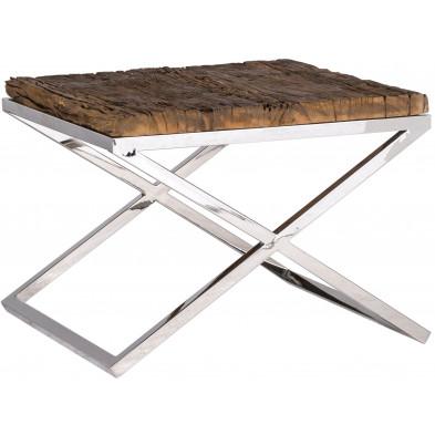 Table d'appoint argenté industriel en acier inoxydable et bois L. 60 x P. 60 x H. 45 cm  collection Kensington-brillant Richmond Interiors