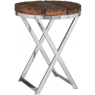 Table d'appoint argenté rustique en acier inoxydable et bois massif  L. 45 x P. 45 x H. 56 cm collection Kensington-brillant Richmond Interiors