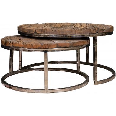 Ensemble de 2 table basse  argenté rustique en acier inoxydable  et bois massif L. 91.5 x P. 37 x H. 46 cm  collection Kensington-brillant Richmond Interiors