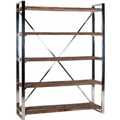 Meuble étagère argenté contemporain en acier inoxydable et bois massif L. 140 x P. 42 x H. 183 cm collection Kensington-brillant Richmond Interiors