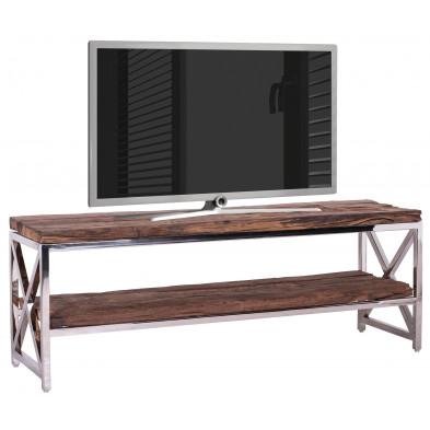 Meuble tv argenté contemporain en acier inoxydable et bois massif recyclé  L. 140 x P. 40 x H. 50 cm collection Kensington-brillant Richmond Interiors