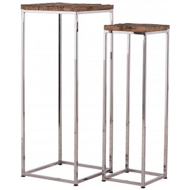 Lot de deux tables d'appoint argenté contemporain en acier inoxydable et bois massif  L. 35 x P. 35 x H. 90 cm /  L. 25 x P. 25 x H. 80 cm collection Kensington-brillant Richmond Interiors