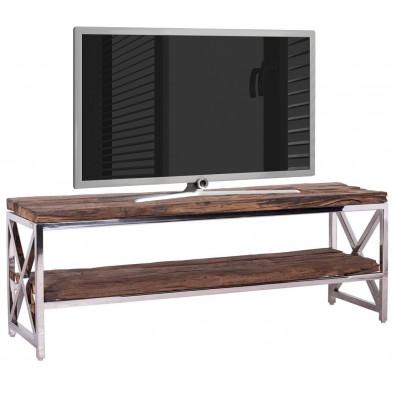 Meuble tv contemporain chêne industriel en acier inoxydable  et bois massif  L. 180 x P. 40 x H. 50 cm collection Kensington Richmond Interiors