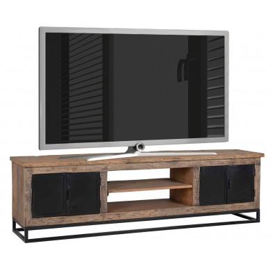Meuble tv marron industriel en acier et bois massif L. 180 x P. 40 x H. 50 cm collection Raffles Richmond Interiors