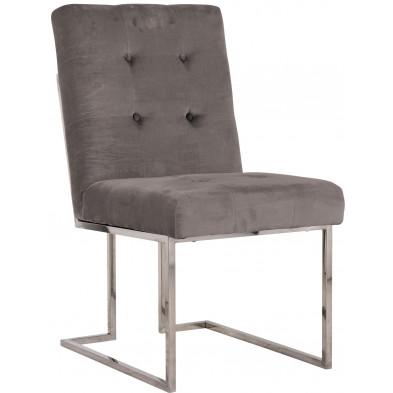 Chaise de salle à manger  Gris Design en Acier inoxydable L. 50 x P. 66 x H. 89 cm  collection Madison Richmond Interiors