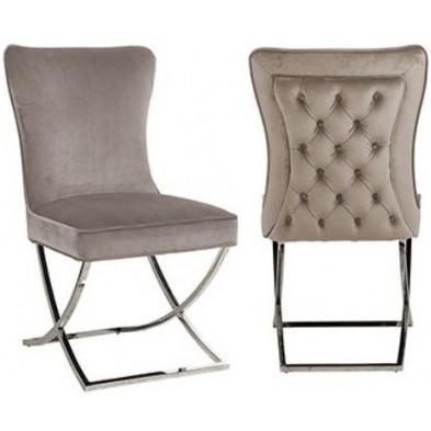 Chaise de salle à manger moderne Taupe Design en Acier inoxydable L. 54 x P. 70 x H. 93.5 cm  collection Scarlette Richmond Interiors