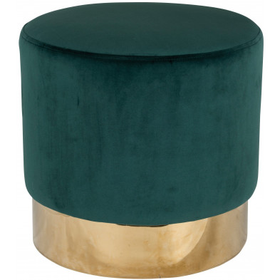 Pouf et tabouret vert design en acier inoxydable L. 42 x P. 42 x H. 41.5 cm collection Lilou Richmond Interiors