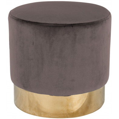 Pouf et tabouret taupe design en acier inoxydable L. 42 x P. 42 x H. 41.5 cm collection Lilou Richmond Interiors