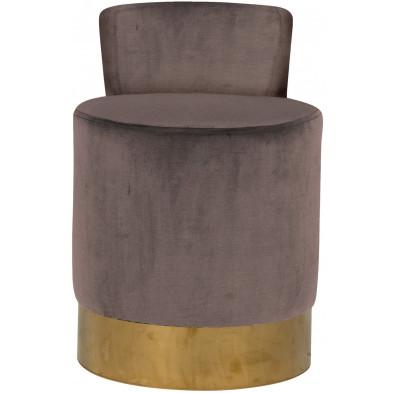 Pouf et tabouret taupe design en acier inoxydable L. 43 x P. 46 x H. 65 cm collection Kaylee Richmond Interiors