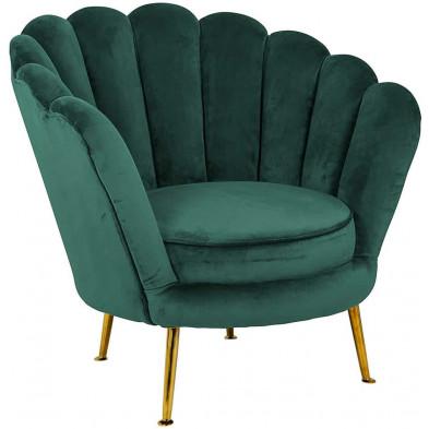 Fauteuil  vert design en acier inoxydable L. 78 x P. 81 x H. 76 cm  collection Perla Richmond Interiors