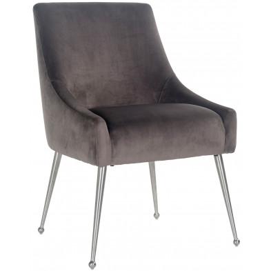 Chaise de salle à manger  Gris Design en Acier inoxydable  L. 56 x P. 61.5 x H. 86 cm  collection Indy Richmond Interiors