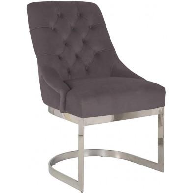 Chaise  de salle à manger Gris Design en Acier inoxydable L. 57.5 x P. 64 x H. 92.5 cm  collection Chaya Richmond Interiors