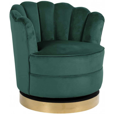 Fauteuil baroque vert design en acier inoxydable L. 81.5 x P. 76 x H. 79 cm collection Mila Richmond Interiors