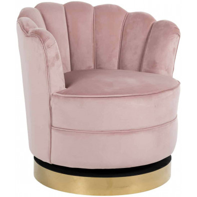 Fauteuil baroque rose design en acier inoxydable L. 81.5 x P. 76 x H. 79 cm collection Mila Richmond Interiors