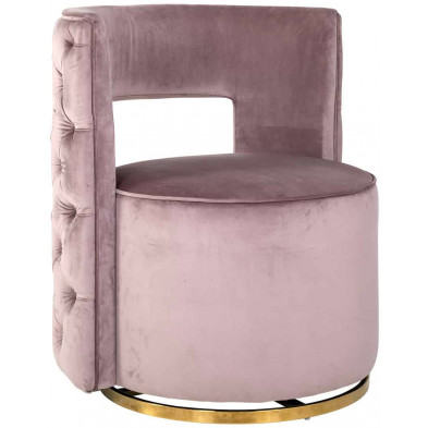 Fauteuil rose design en acier inoxydable L. 72 x P. 69 x H. 80 cm  collection Jamie Richmond Interiors