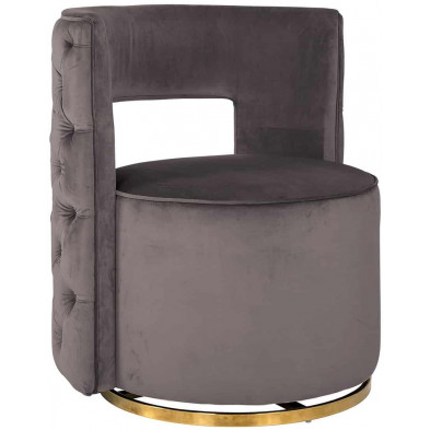 Fauteuil taupe design en acier inoxydable  L. 72 x P. 69 x H. 80 cm collection Jamie Richmond Interiors
