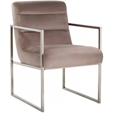 Chaise de salle à manger moderne Beige Design en Acier inoxydable L. 56 x P. 73 x H. 85 cm collection Koolkerke Richmond Interiors