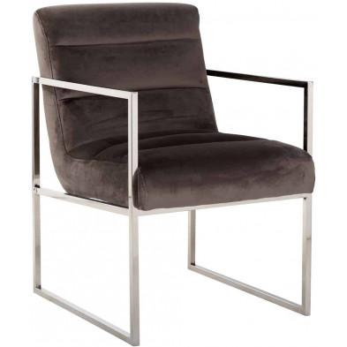 Chaise de salle à manger moderne Marron Design en Acier inoxydable L. 56 x P. 73 x H. 85 cm collection Koolkerke Richmond Interiors