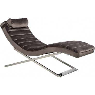 Fauteuil relax marron design en acier inoxydable L. 60 x P. 161 x H. 80 cm collection Rossi Richmond Interiors