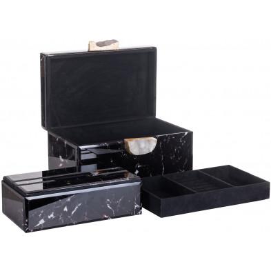 Boîte à bijoux noir scandinave  en bois mdf L. 30.5 x P. 15 x H. 18 cm  collection Maeve Richmond Interiors
