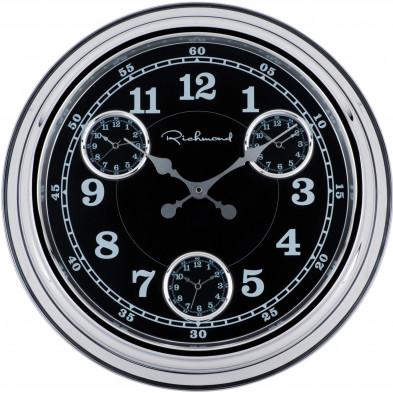 Horloge murale noir contemporain en acier   L. 50.9 x P. 7.2 x H. 50.9 cm collection Noa Richmond Interiors