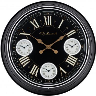 Horloge murale noir contemporain en acier L. 50.9 x P. 7.2 x H. 50.9 cm collection Yael Richmond Interiors