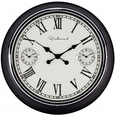 Horloge murale blanc contemporain en acier  L. 50.9 x P. 7.2 x H. 50.9 cm collection Maya Richmond Interiors