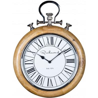 Horloge murale argenté contemporain en acier L. 38 x P. 8 x H. 50 cm collection Audry Richmond Interiors