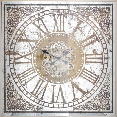 Horloge murale argenté contemporain en acier L. 82 x P. 10 x H. 82 cm collection Owen Richmond Interiors
