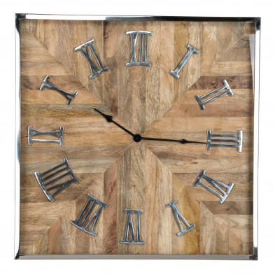 Horloge murale argenté rustique en acier inoxydable et bois de manguier  L. 60 x P. 5 x H. 60 cm collection Aiden Richmond Interiors
