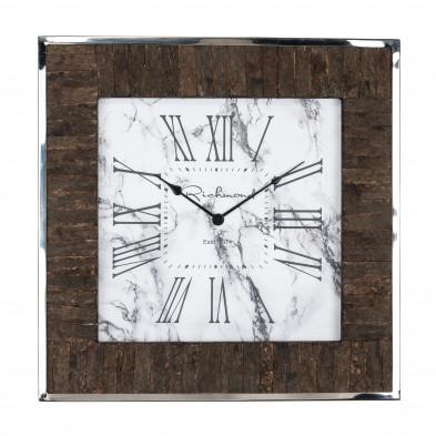 Horloge murale blanc contemporain en acier inoxydable  L. 60 x P. 5 x H. 60 cm collection Evan Richmond Interiors