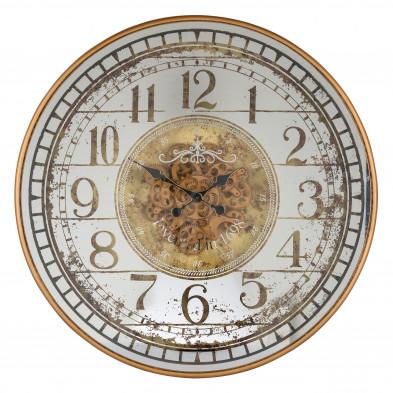 Horloge murale blanc contemporain en acier L. 82 x P. 10 x H. 82 cm collection Aubrey Richmond Interiors