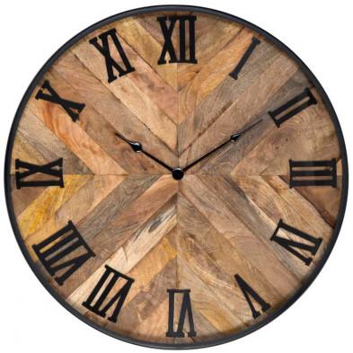 Horloge murale chêne rustique en acier et bois massif manguier   L. 60 x P. 5 x H. 60 cm  collection Brett Richmond Interiors