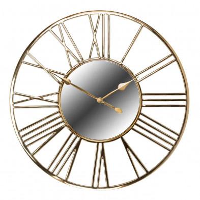 Horloge murale or contemporain en acier inoxydable et miroir  L. 92 x P. 4 x H. 92 cm  collection Willson Richmond Interiors