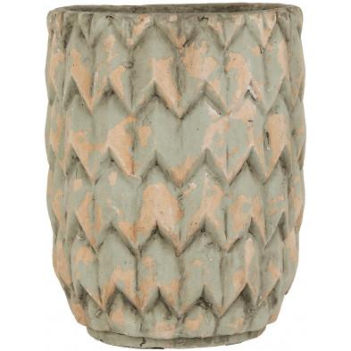Vase vert contemporain en béton  L. 27.5 x P. 27.5 x H. 33 cm collection Ava Richmond Interiors