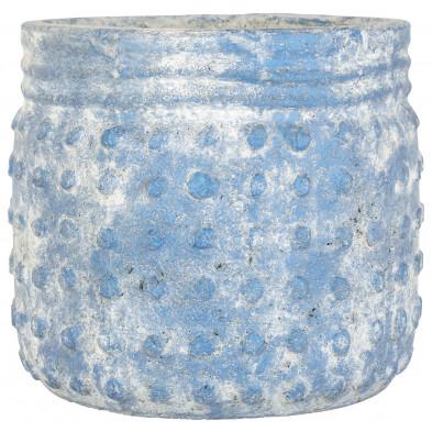 Vase blanc contemporain en béton  L. 22 x P. 22 x H. 19 cm collection Evy Richmond Interiors