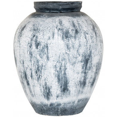 Vase blanc contemporain en béton  L. 39 x P. 39 x H. 26 cm collection Claire Richmond Interiors