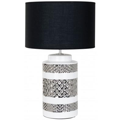 Lampe à poser argenté design en céramique   L. 39 x P. 39 x H. 63.5 cm collection Aurora Richmond Interiors