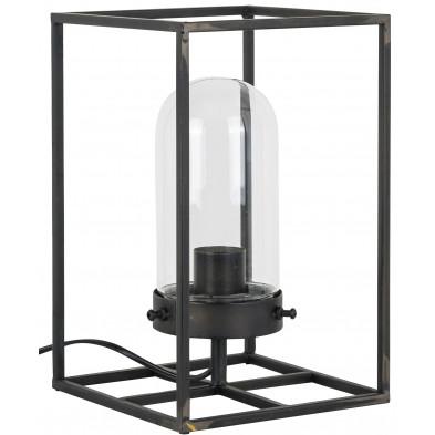 Lampe à poser argenté industriel en acier  L. 20 x P. 20 x H. 31.5 cm collection Vienna Richmond Interiors
